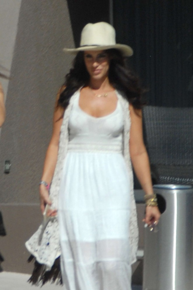 Jessica Lowndes in White Dress Leaving her hotel in California