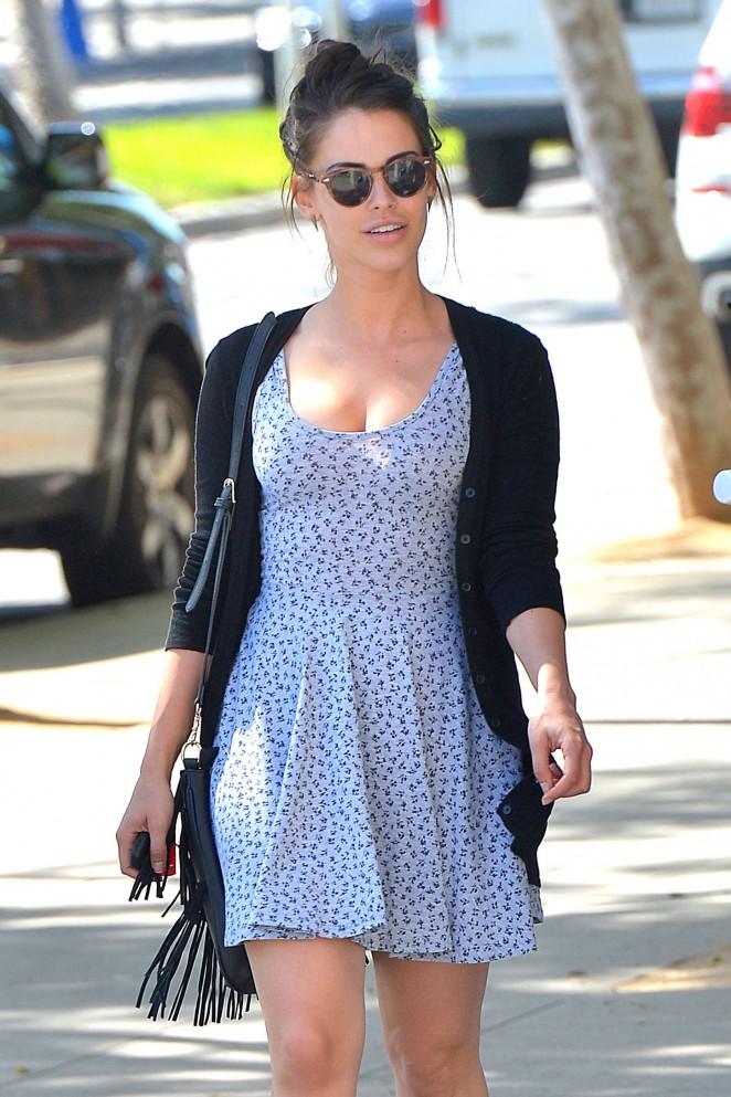 Jessica Lowndes in Blue Mini Dress Leaving Zinque Cafe in LA