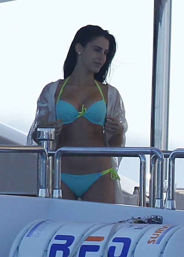 Jessica Lowndes in Bikini on a boat in Cannes