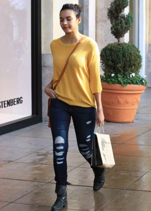 Jessica Lucas in jeans shopping in Los Angeles