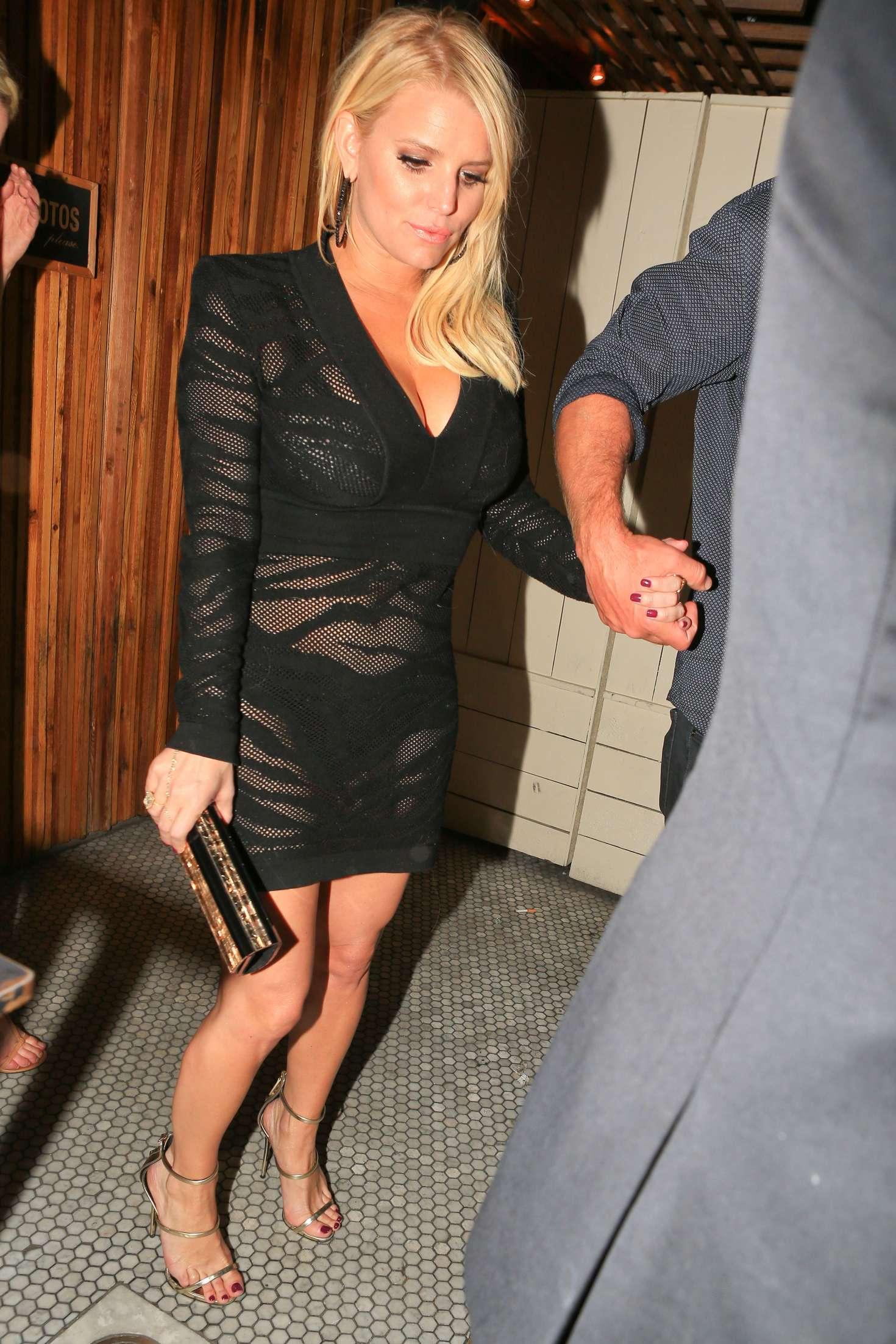Jessica Simpson in Black Mini Dress -08 - GotCeleb