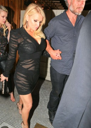 Jessica Simpson in Black Mini Dress The Nice Guy Nightclub in West Hollywood
