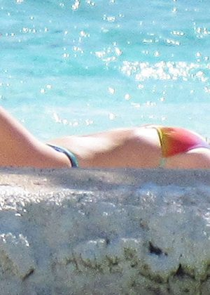 Jessica Simpson in a bikini at a beach in Tahiti