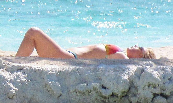 Jessica Simpson in a bikini at a beach in Tahiti