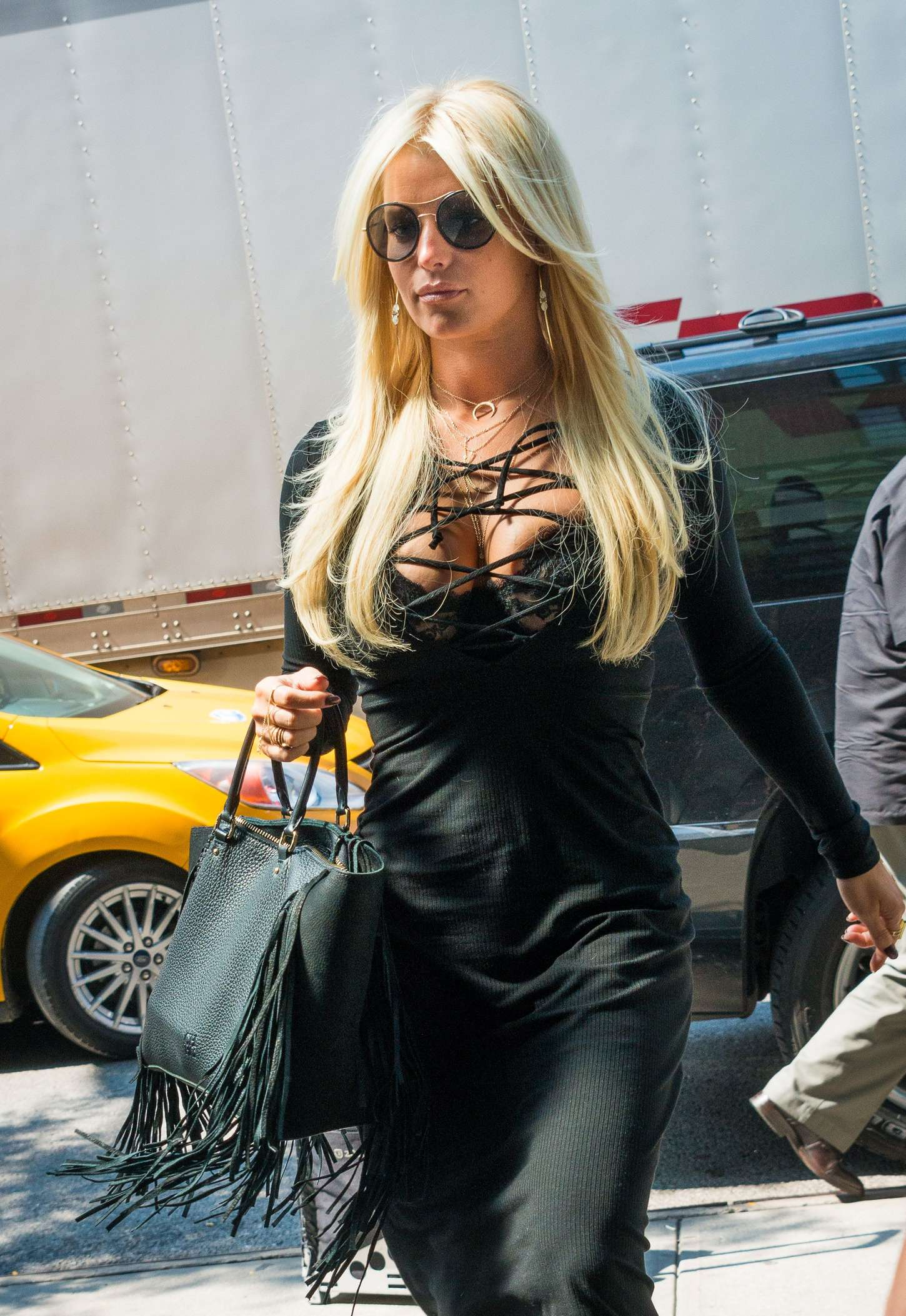 Jessica Simpson in Black Dress out in NYC