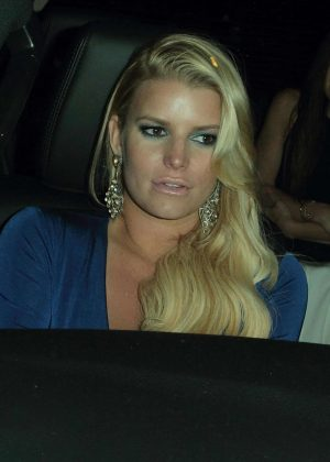 Jessica Simpson In Blue Dress Out In Beverly Hills Gotceleb
