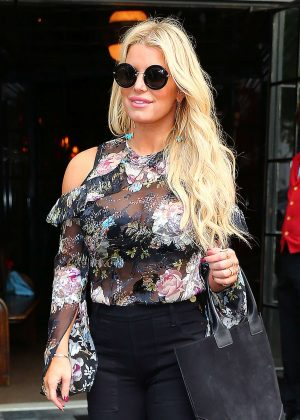 Jessica Simpson in Floral Outfit out in New York
