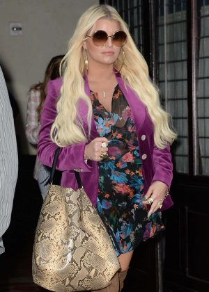 Jessica Simpson in Floral Print Dress in New York City