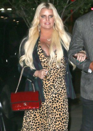 Jessica Simpson in Leopard Print Dress - Out in New York City