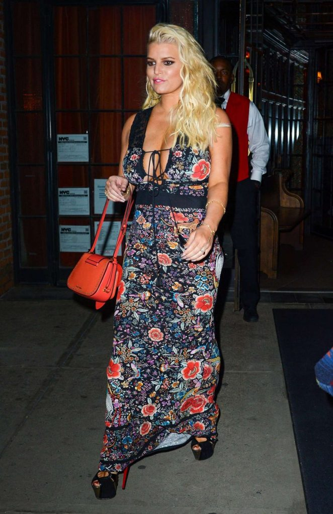 Jessica Simpson in Long Dress Out in New York