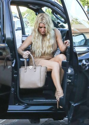 Jessica Simpson in mini dress at Mr. Chow in Malibu