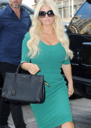 Jessica Simpson in Green Dress Outside her hotel in NYC