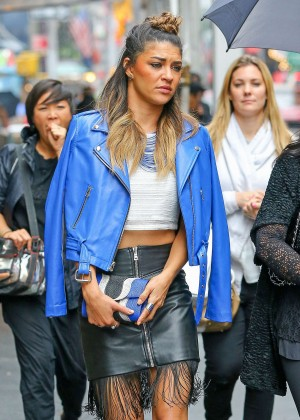 Jessica Szohr in Leather Skirt Out in NYC
