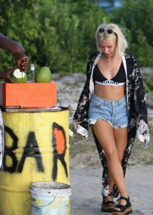 Jessica Woodley in Shorts on the beach in Barbados