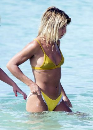 Jessica Woodley in Yellow Bikini on the beach in Barbados