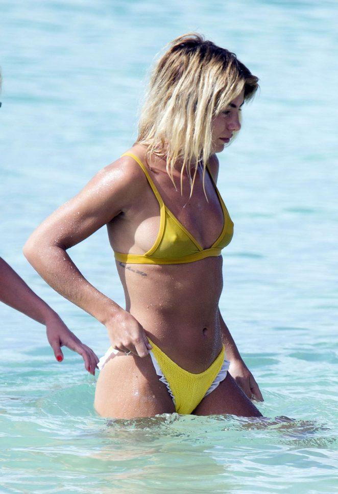 Jessica Woodley in Yellow Bikini on the beach in Barbados