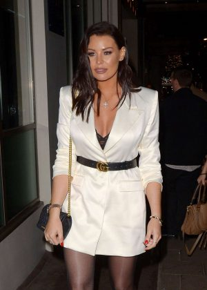 Jessica Wright in Mini Dress - Night out at The Mayfair Hotel Bar in London