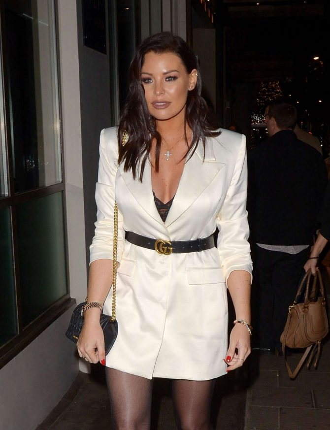 Jessica Wright in Mini Dress – Night out at The Mayfair Hotel Bar in London