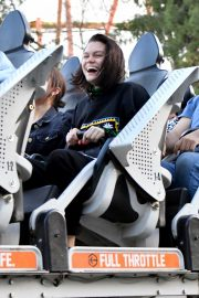 Jessie J at Six Flags Magic Mountain with a friends in Los Angeles