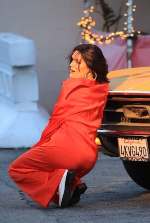 Jessie J - In a colorful ensemble while shooting a video in Los Angeles