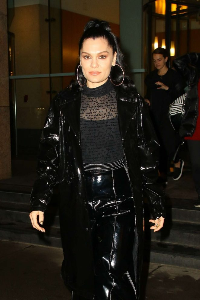 Jessie J in Black PVC Outfit – Out in New York