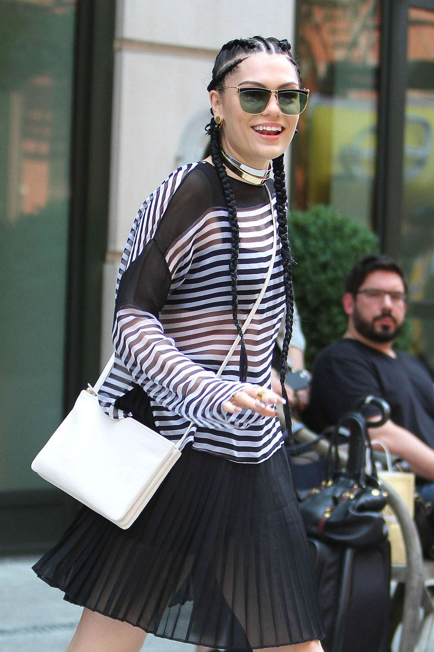 Jessie J in Black Skirt Out in NYC