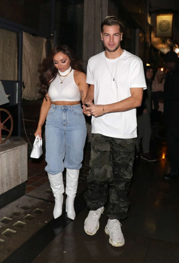 Jesy Nelson and Chris Hughes - Out for their anniversary at the Moonshine Saloon in London