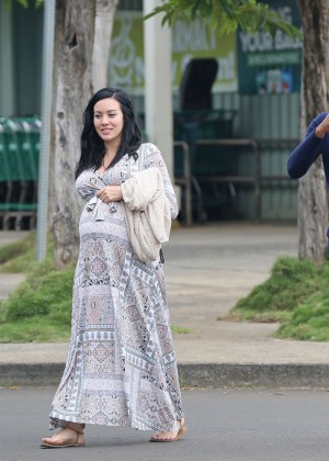 Jhene Aiko in Long Dress out in Hawaii