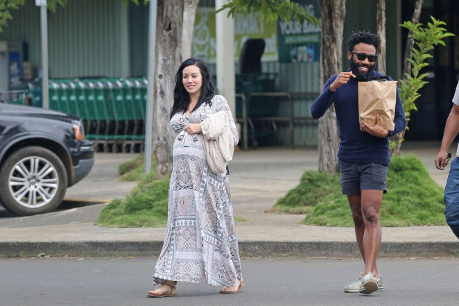 Jhene Aiko in Long Dress out in Hawaii