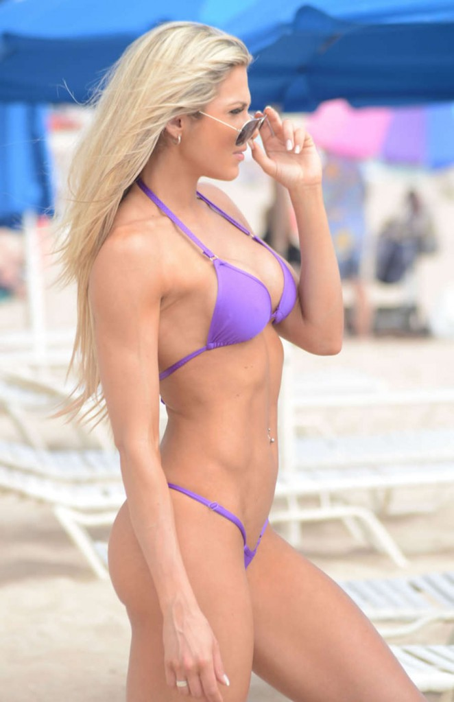 Jill Bunny in Purple Bikini in Miami