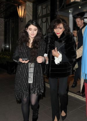 Joan Collins - Leaves Claridges Hotel in London