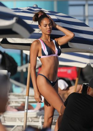 Joan Smalls in Bikini on the beach in Miami