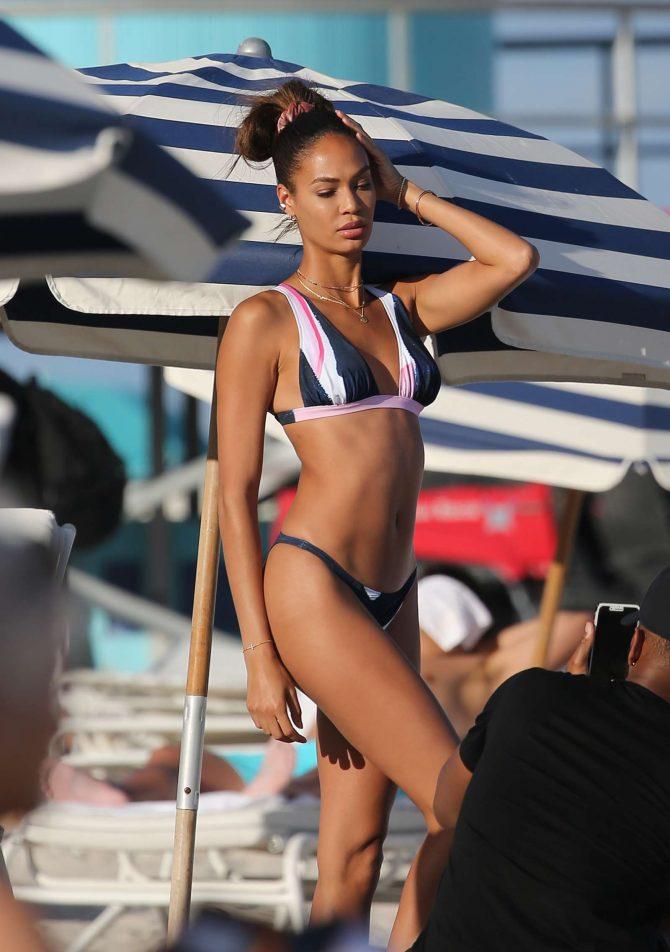 Joan Smalls in Bikini on the beach in Miami
