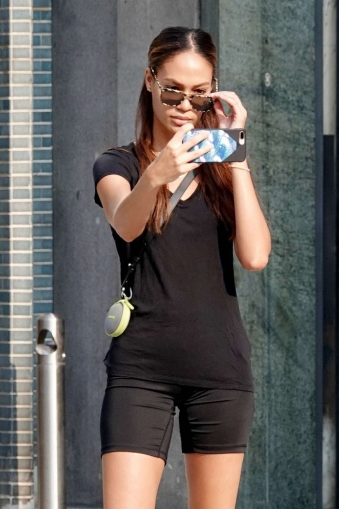 Joan Smalls in Black Outfit - Out in Milan