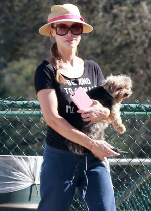 Joanna Krupa at a park in LA
