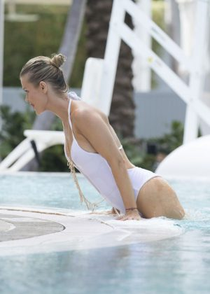 Joanna Krupa - Hot In White Swimsuit at a Pool In Miami