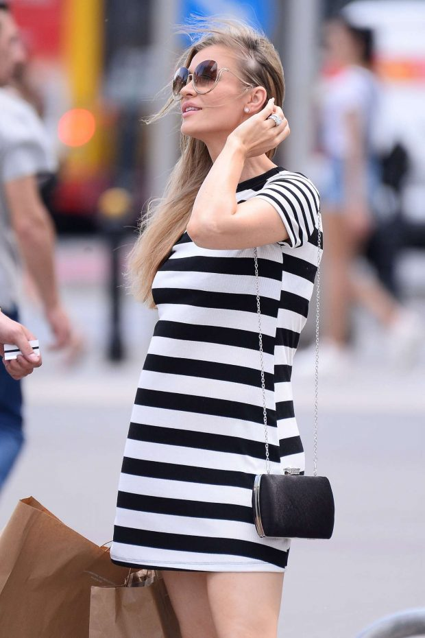 Joanna Krupa in a Striped Mini Dress - Shopping in Warsaw