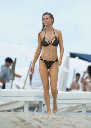 Joanna Krupa in Black Bikini at a Beach in Miami