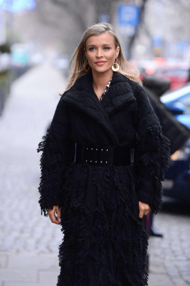 Joanna Krupa in Black Coat - Out in Warsaw