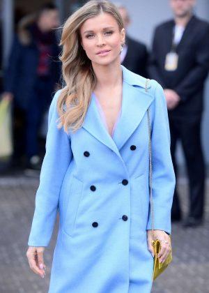 Joanna Krupa in Blu Coat out in Warsaw