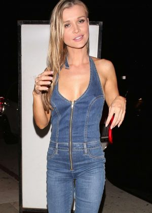 Joanna Krupa in Jeans Jumpsuit at Giorgio Baldi in Santa Monica