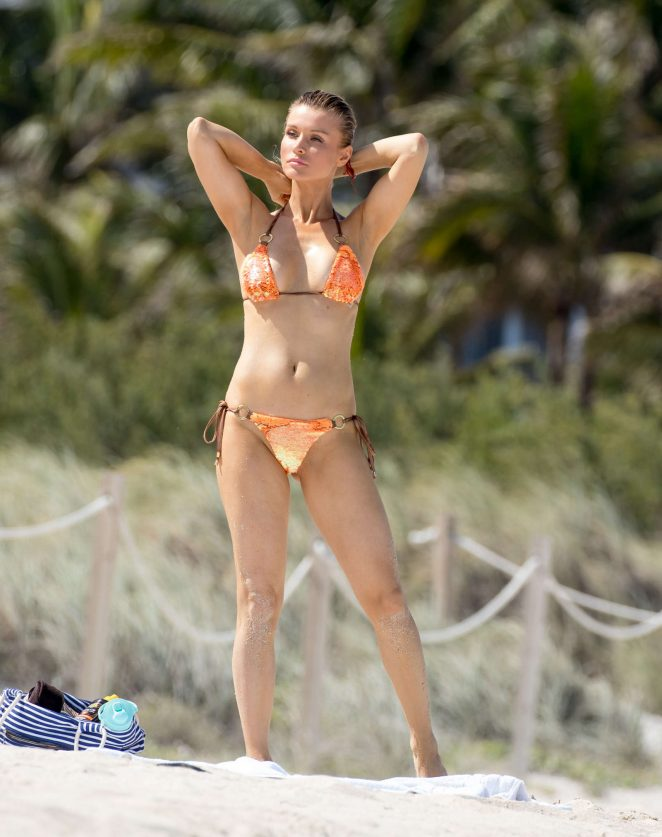Joanna Krupa in Orange Bikini in Miami