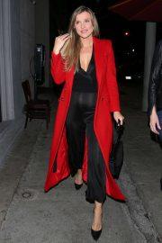 Joanna Krupa in Red Coat - Arriving at Craig's in Los Angeles