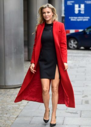Joanna Krupa in Red Coat - Visits Good Morning TVN Show in Warszawa