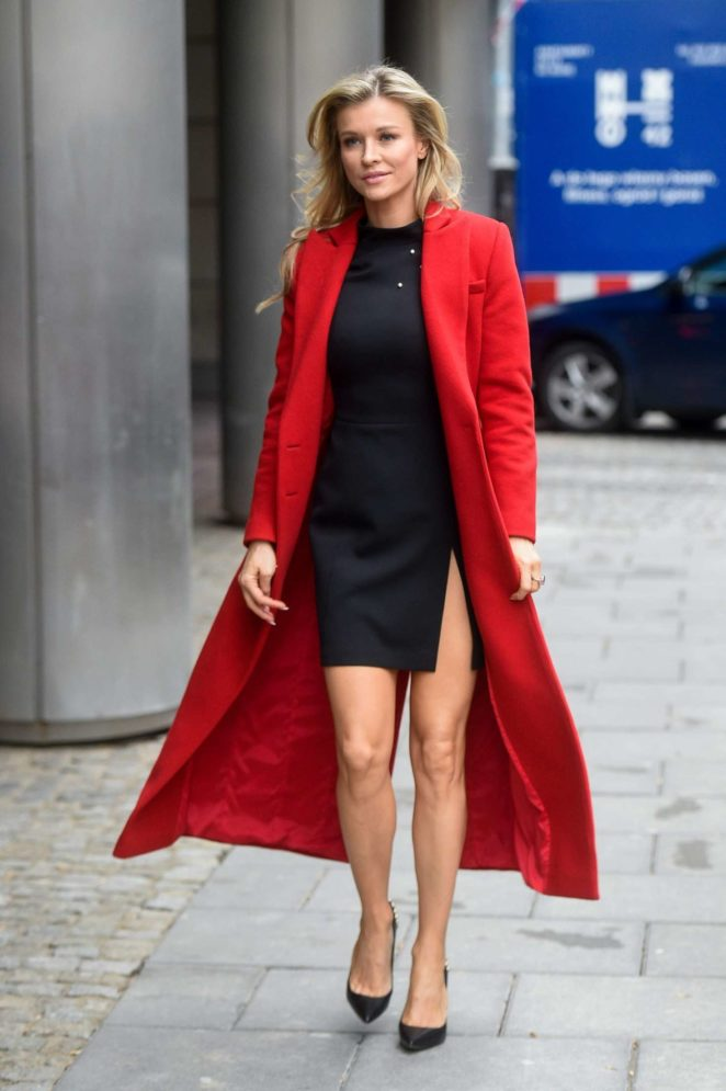 Joanna Krupa in Red Coat – Visits Good Morning TVN Show in Warszawa