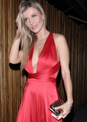 Joanna Krupa in red satin dress at The Nice Guy in LA