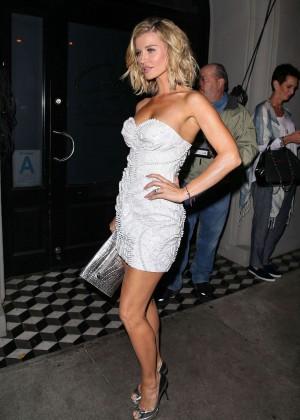 Joanna Krupa in White Mini Dress Night Out in LA
