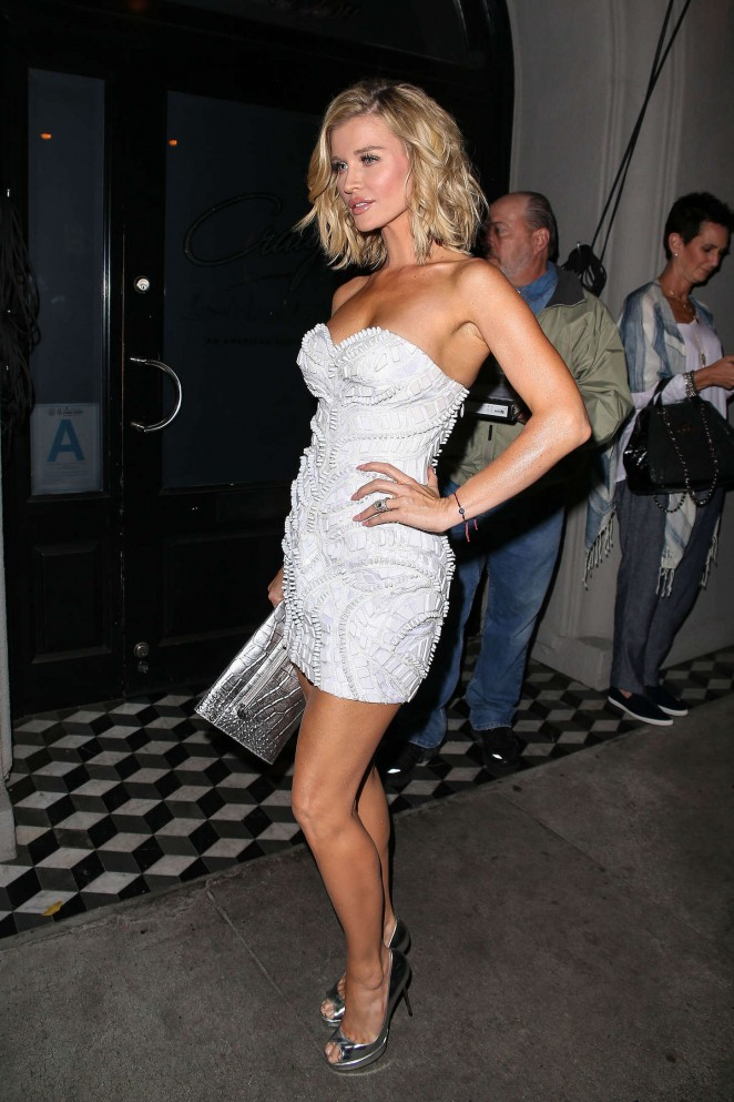 Joanna Krupa in White Mini Dress Night Out in LA