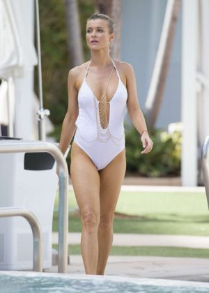 Joanna Krupa in White Swimsuit at a pool in Miami