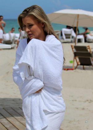 Joanna Krupa on the beach in Miami